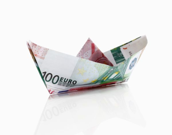 Paper boat from euro notes