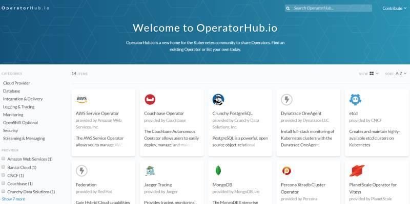 OperatorHub.io, Kubernetes Operatör destek hizmetleri bulmak için kullanılacak bir ortak kayıt merkezi olarak tasarlandı.
