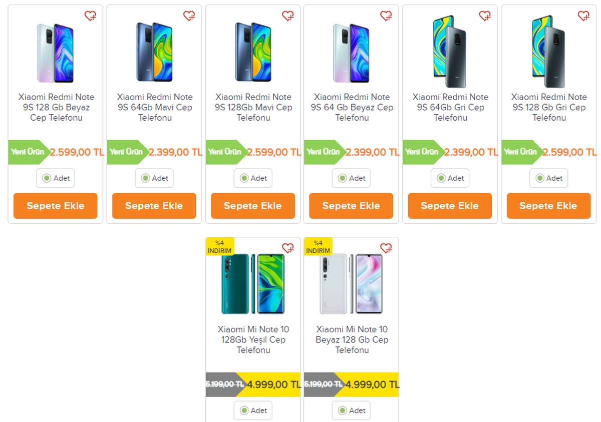 Redmi Note 9S migros sanal market fiyatı