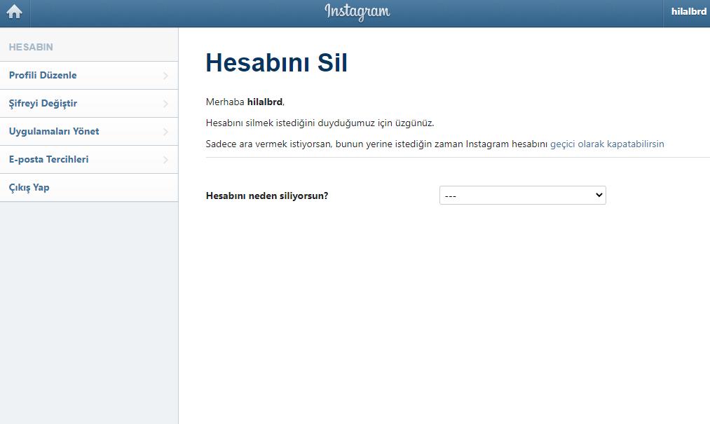 Instagram hesap silme nasıl yapılır