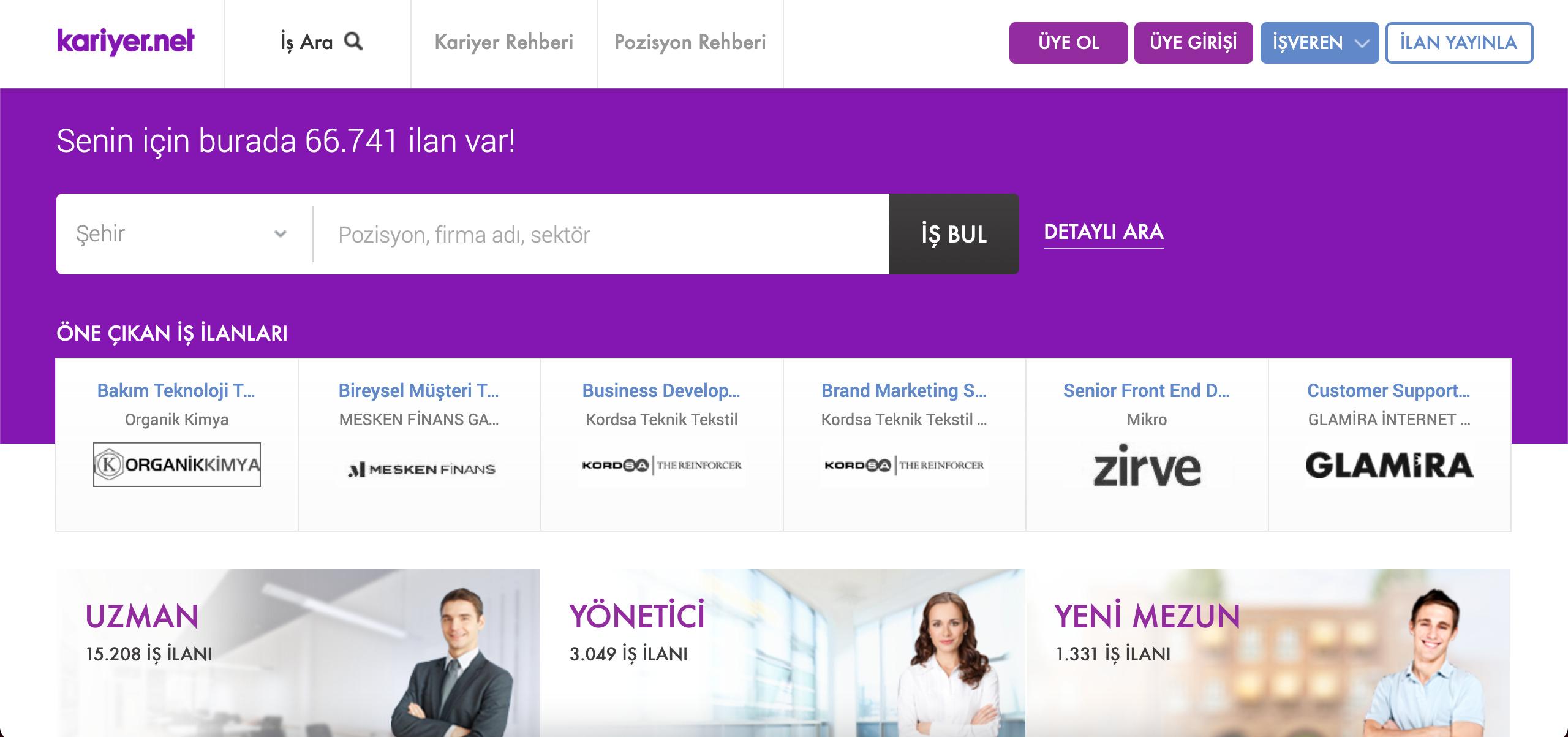 Kariyer.net kullanıcı verileri
