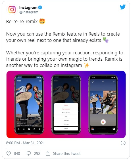 Instagram, TikTok Duets Gibi İçerikler İçin Instagram Remix'i Sundu